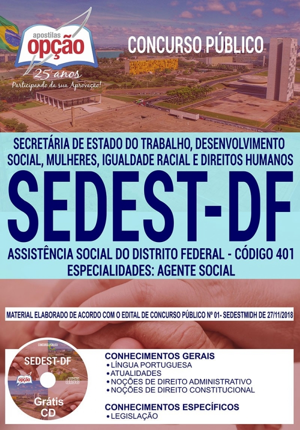 Concurso SEDEST DF 2019-ASSISTÊNCIA SOCIAL DO DISTRITO FEDERAL ... - Impressa: 60,00 - Digital: 40,00