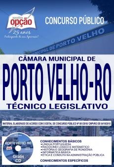 Concurso Câmara de Porto Velho 2018-TÉCNICO LEGISLATIVO-TAQUÍGRAFO