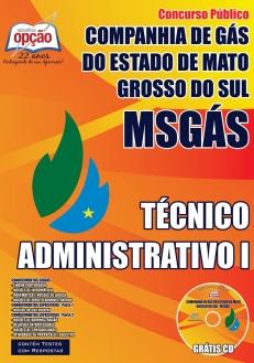 Companhia de Gás do Estado / MS (MSGÁS)-TÉCNICO ADMINISTRATIVO I-CARREIRA PROFISSIONAL DE NÍVEL MÉDIO E SUPERIOR