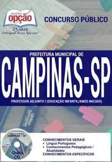 Prefeitura Municipal de Campinas / SP-PROFESSOR DE EDUCAÇÃO BÁSICA III - CIÊNCIAS-PROFESSOR ADJUNTO II - INGLÊS-PROFESSOR ADJUNTO I (EDUCAÇÃO INFANTIL / ANOS INICIAIS)-AGENTE DE ORGANIZAÇÃO ESCOLAR
