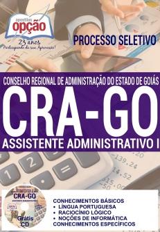 Processo Seletivo CRA GO 2016-AUXILIAR DE SERVIÇOS GERAIS-ASSISTENTE ADMINISTRATIVO II-ASSISTENTE ADMINISTRATIVO I