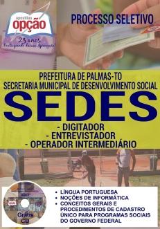 Processo Seletivo SEDES Palmas TO 2017-DIGITADOR / ENTREVISTADOR / OPER. INTERMEDIÁRIO