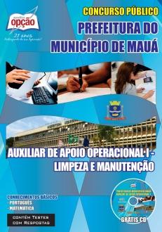 Prefeitura do Município de Mauá-AUXILIAR DE APOIO OPERACIONAL I - LIMPEZA E MANUTENÇÃO-ASSISTENTE ADMINISTRATIVO I-AGENTE ADMINISTRATIVO I