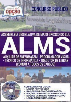 Apostila Concurso Assembleia Legislativa de MS ALMS de Mato Grosso do Sul 2016, DIVERSOS CARGOS DE NÍVEL MÉDIO.