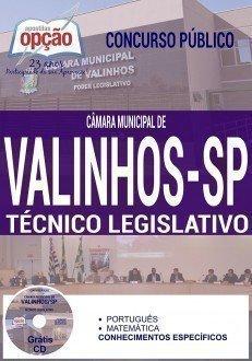 Apostila Câmara municipal de Valinhos SP, para Técnico Legislativo.