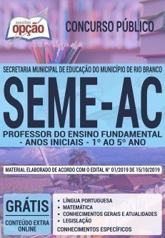 PROFESSOR DE ENSINO FUNDAMENTAL - ANOS INICIAIS - 1º AO 5º ANO